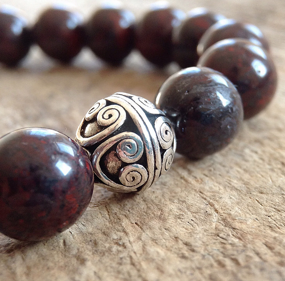 Men's Burgundy Jasper Bracelet - 10mm - TesoroDelSol