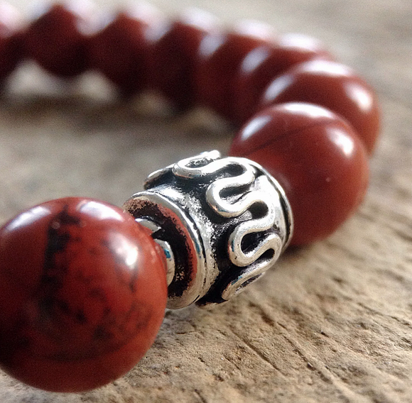 Mens Red Jasper Bracelet - 8mm Beads - TesoroDelSol