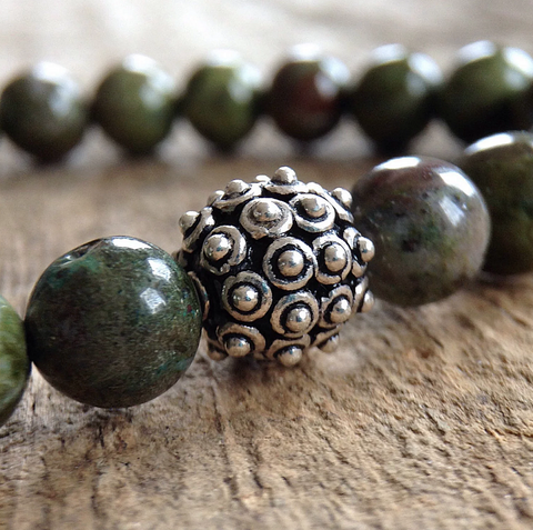 Men's Green Jasper Bali Bracelet - 8mm