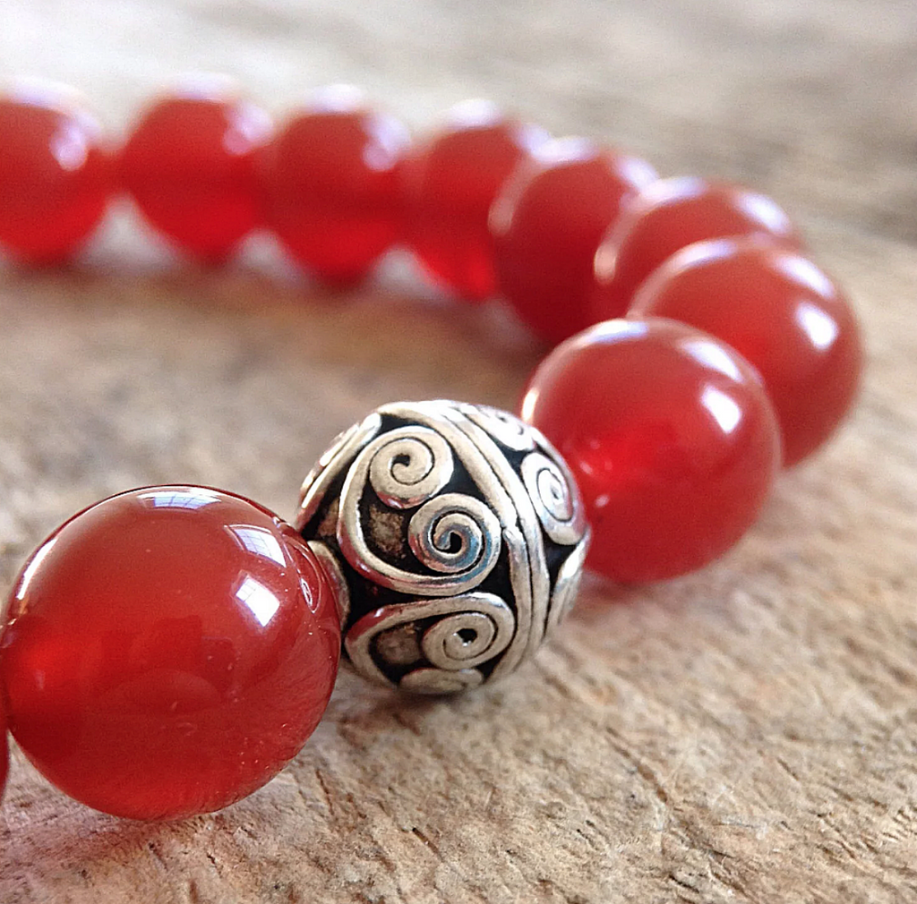 Men's Red Stretch Agate Bracelet - 10mm - TesoroDelSol