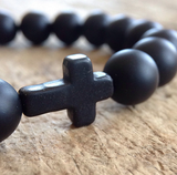 Men's Black Cross Bracelet - TesoroDelSol