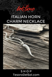 Sterling Silver Italian Horn Necklace