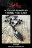 Men's Arrowhead Rosary Necklace
