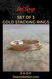 Set of 3 Gold Stacking Rings