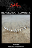 Boho Luxe Silver Beaded Ear Climbers