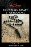 Men's Black Rosary Style Necklace
