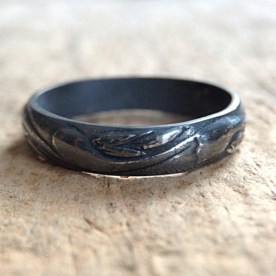 Black Silver Flourish Ring - TesoroDelSol