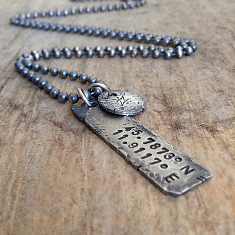Men's Custom Coordinates Necklace