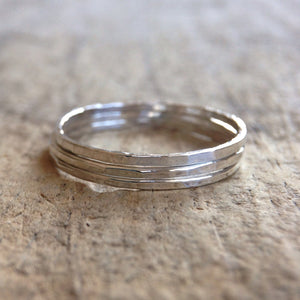 Set of 3 Sterling Silver Skinny Rings - TesoroDelSol