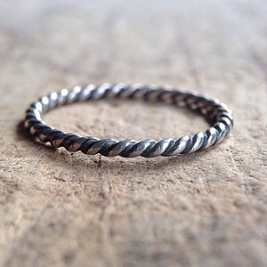 Antique Sterling Silver Twist Ring Front View
