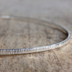 Sterling Silver Tree Bark Bangle - TesoroDelSol