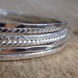 Sterling Silver Marquis Diamond Bangle - TesoroDelSol