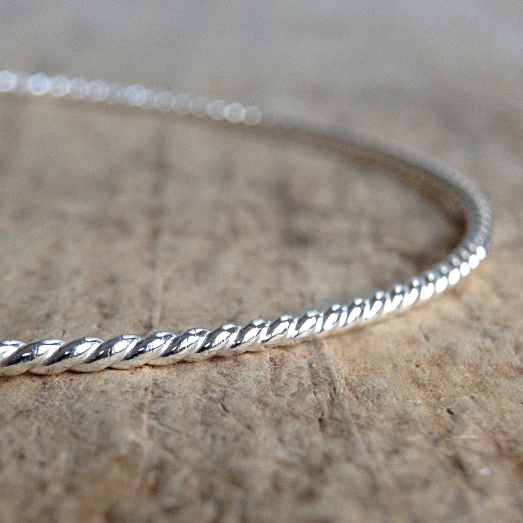 Sterling Silver Rope Bangle - TesoroDelSol