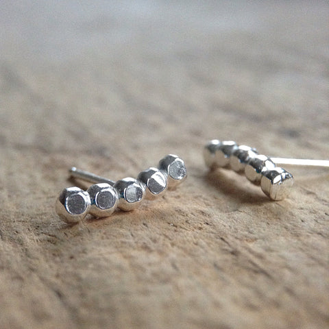 Sterling Silver Beaded Stud Earrings