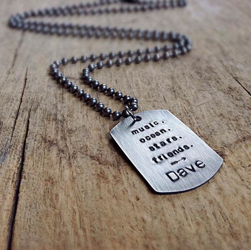 Men's Sterling Silver Dog Tag Necklace - TesoroDelSol