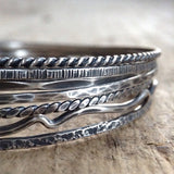 Stacked Antique Sterling Silver Bohemian Tree Bangles
