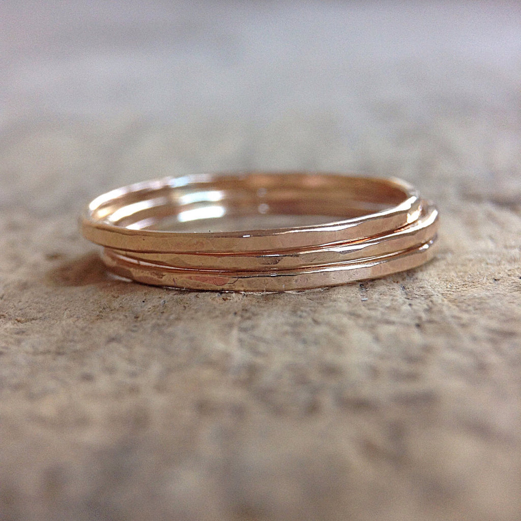 Set of 3 14K Gold Filled Bohemian Stacking Rings - TesoroDelSol