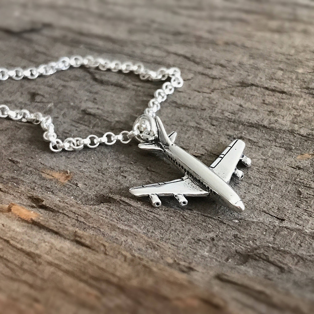Sterling Silver Airplane Necklace - TesoroDelSol