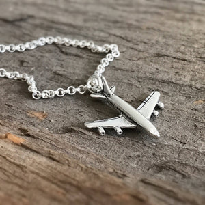 Sterling Silver Airplane Necklace