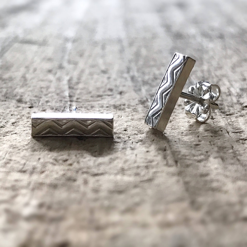 Sterling Silver Aztec Bar Stud Earrings - TesoroDelSol