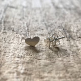 Sterling Silver Tiny Heart Stud Earrings