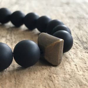 Men's Antique Matte Black Onyx Bracelet - TesoroDelSol