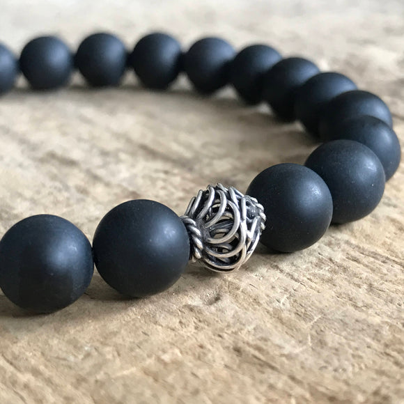 Men's Black Onyx Stone Bracelet - 8mm - TesoroDelSol