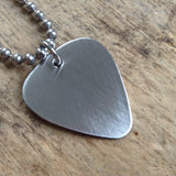 Men's Brushed Steel Guitar Pick Necklace
