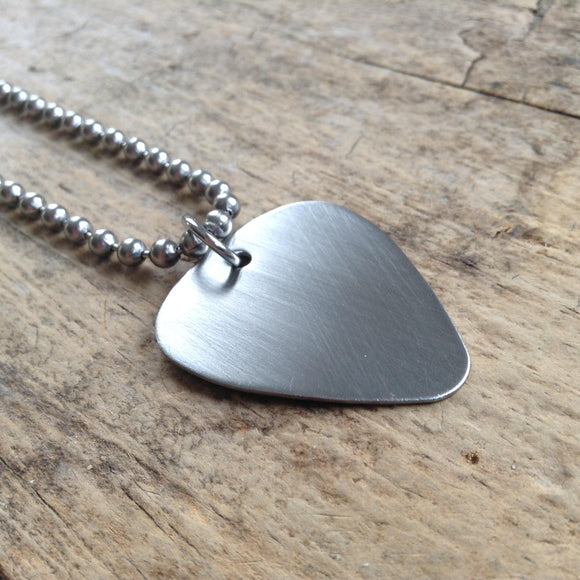 Men's Brushed Steel Guitar Pick Necklace - TesoroDelSol