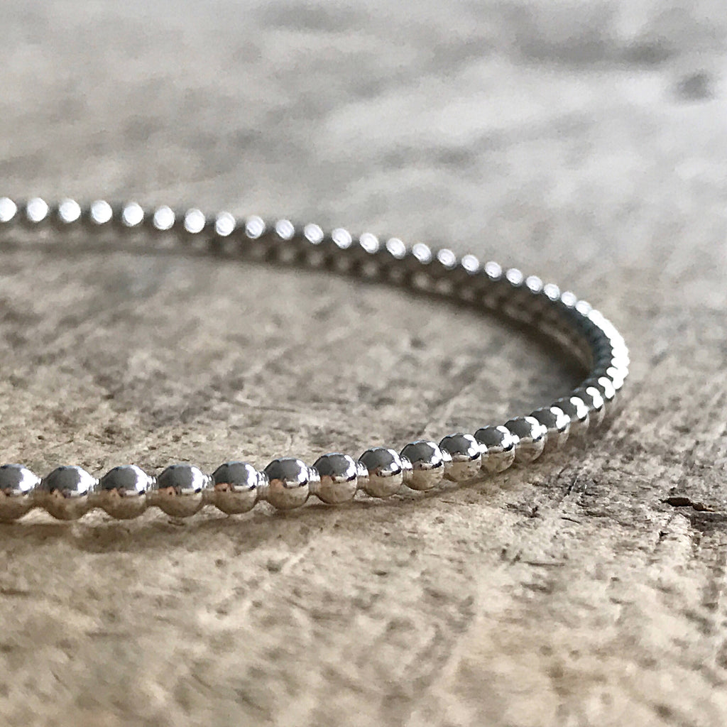 Sterling Silver Beaded Bangle - TesoroDelSol