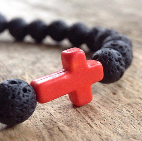 Men's Orange Cross Lava Bracelet