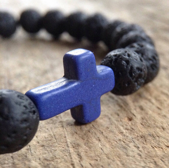 Men's Blue Cross Bracelet - TesoroDelSol