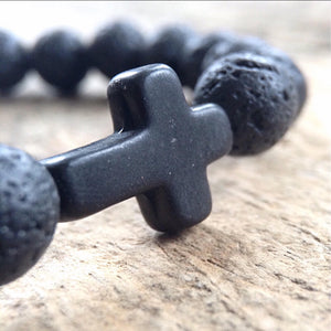 Men's Black Cross Lava Bracelet - TesoroDelSol