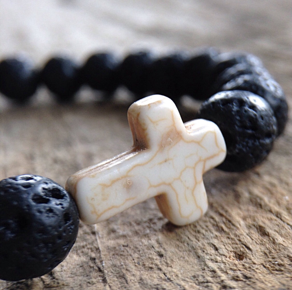 Men's White Cross Bracelet - TesoroDelSol