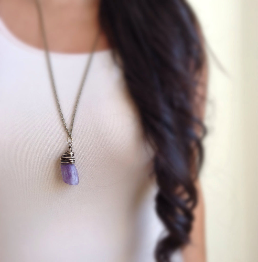 Raw Amethyst Necklace - TesoroDelSol