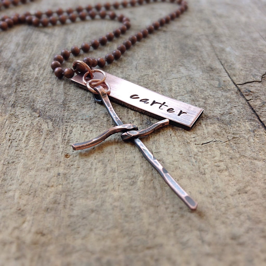 Men's Cross Charm Name Necklace - TesoroDelSol