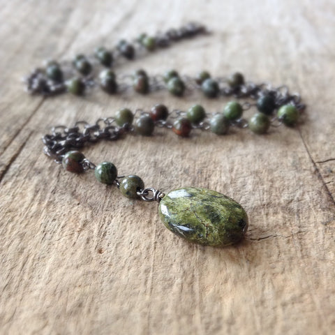 Men's Green Beaded Rosary Necklace