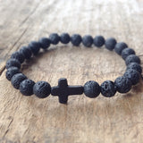 Black Cross Lava Bracelet for Men