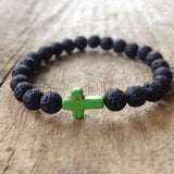 Men's Green Cross Lava Bracelet