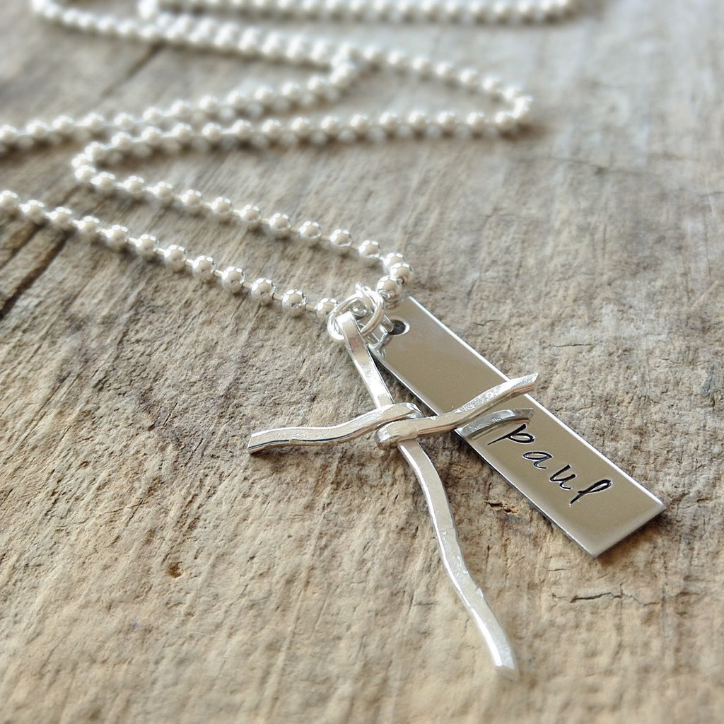 Men's Sterling Silver Rustic Cross Necklace - TesoroDelSol