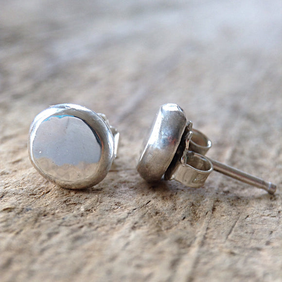Flat Pebble Sterling Silver Stud Earrings