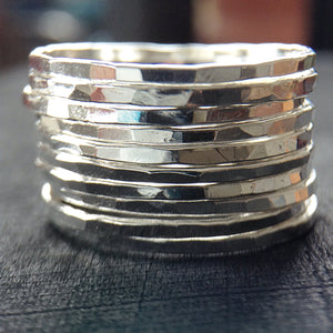 Set of 10 Antique Sterling Silver Skinny Rings