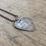 Mens Rustic Stainless Steel Guitar Pick Necklace - TesoroDelSol