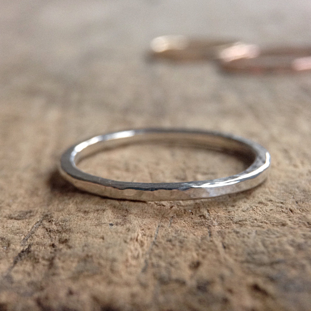 Sterling Silver Hammered Ring - TesoroDelSol