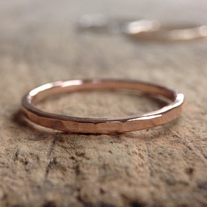 Rose Gold Hammered Ring Band