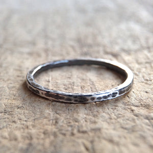 Antique Silver Hammered Stacking Ring