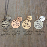 Compass charm necklaces in a range of finishes