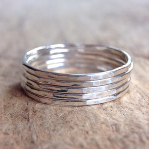 Five Stackable Sterling Silver Rings - TesoroDelSol