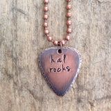 Men's Copper Guitar Pick Necklace