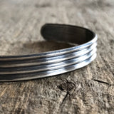 Men's Striped Open Cuff Bangle
